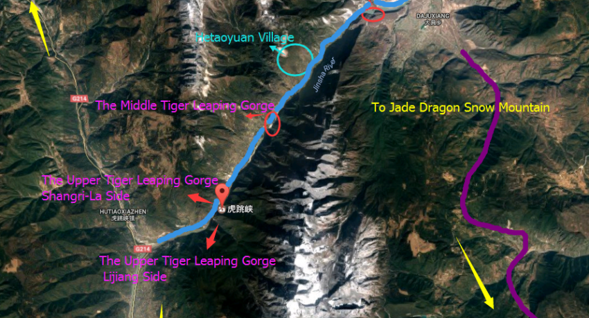 The Region Map of Tiger Leaping Gorge