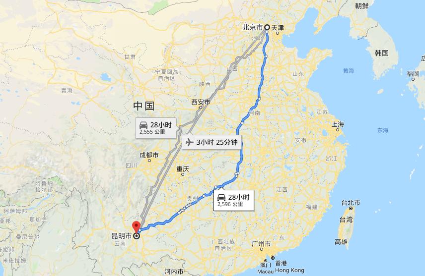 Beijing – Kunming High Speed Rail Map